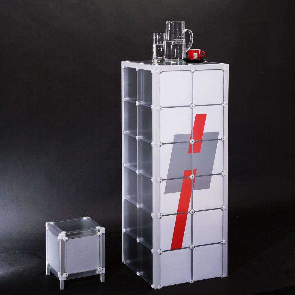 Stele Stehstele Werbung Werbetechnik Regal Absteller Ablage x-cett casetten Tisch individuell kreativ druck
