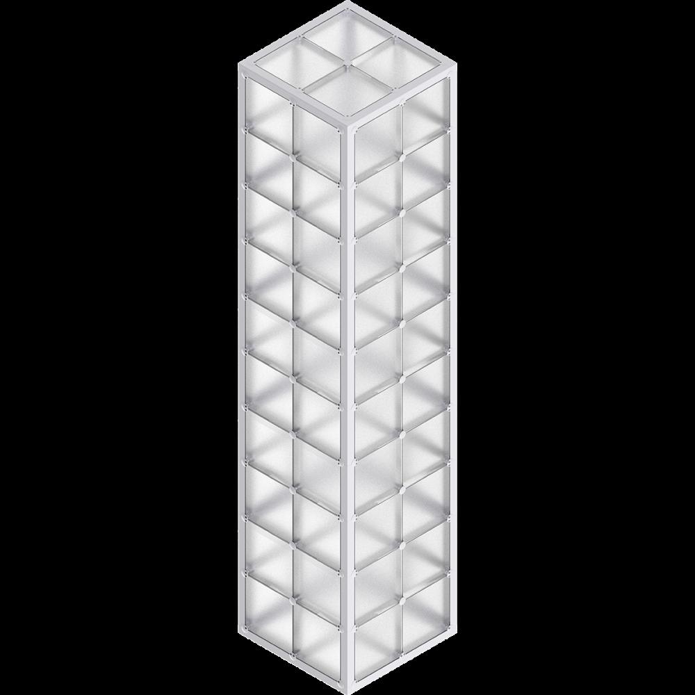 x-cett Stele hoch Glas Baustein grau Würfel Quader