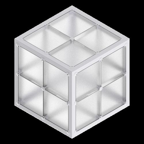 x-cett Würfel 2x22 niedrig Glas Milchglas Baustein grau Kasten Quader Box vielseitig einsetzbar wandelbar einzigartig modern personalisiert kreativ wunschbedrucke Informationssystem