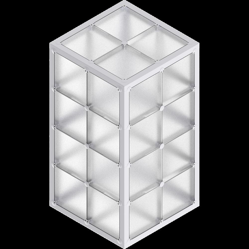 x-cett Stele niedrig Glas Milchglas Baustein grau Würfel Quader