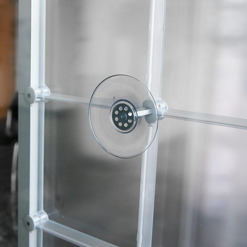 Saugnapf Sichtschutz Raumtrenner individuell kreativ x-cett casette verbindungsteile Glas Milchglas