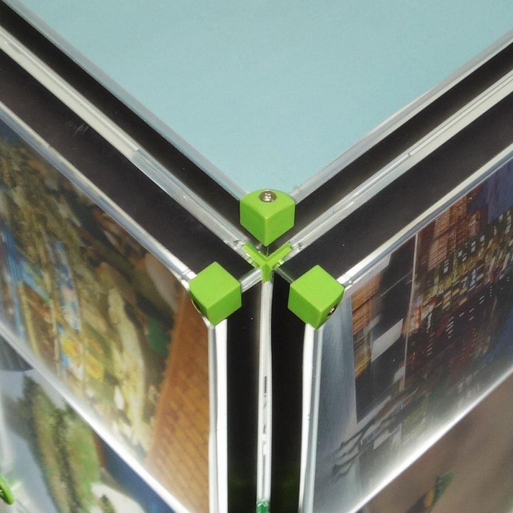 Eckverbinder Senkung Verbindungsteile Anwendungsbild Anwendung Montage x-cett Casette grün