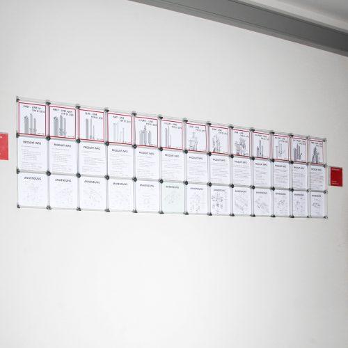 Informationen Wand Infos Infotafel Tafel individuelle Bilder personalisiert persönlich Infowand Informationswand Popup Store Büroausstattung Lobby nachhaltige Möbel Produktpräsentation Firmenpräsentation Baukastensystem Messebau Messe
